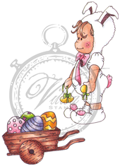 Vilda Stamps - Rabbit Baby With Egg Trolley