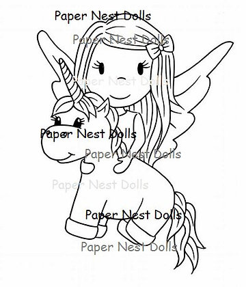 Paper Nest Dolls - Fairy with Unicorn