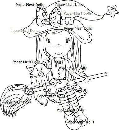 Paper Nest Dolls - Witch Ellie Riding Her Broom