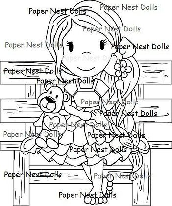 Paper Nest Dolls - Sitting With Teddy