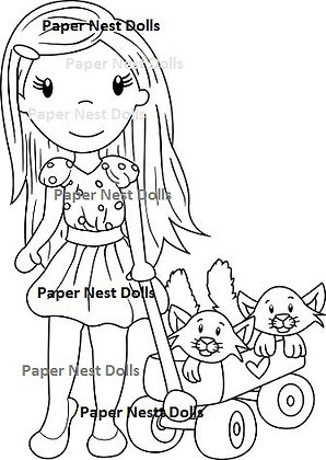 Paper Nest Dolls - Avery Kitty Wagon
