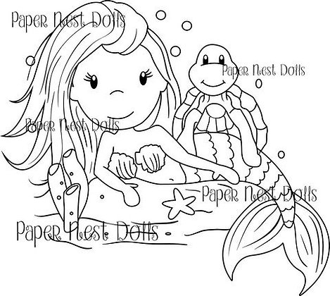 Paper Nest Dolls - Mermaid With Sea Turtle