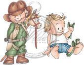 Vilda Stamps - Cowboy and Boy