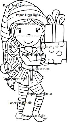 Paper Nest Dolls - Elf Ellie With Gifts