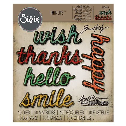 Sizzix Thinlits Tim Holtz Die Set - Shadow Script #2