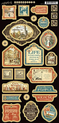 Graphic 45 Chipboard - Cityscapes 2