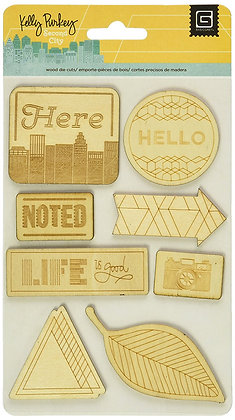 Basic Grey Laser Wooden Stickers