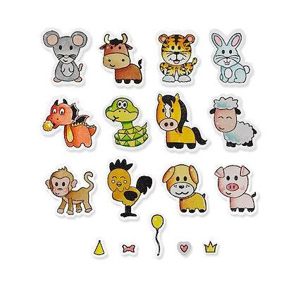 Sizzix Framelits Die Set With Stamps - Zodiac Animals