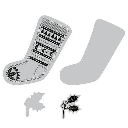 Sizzix Framelits Stamp and Die Set - Fairisle Stocking