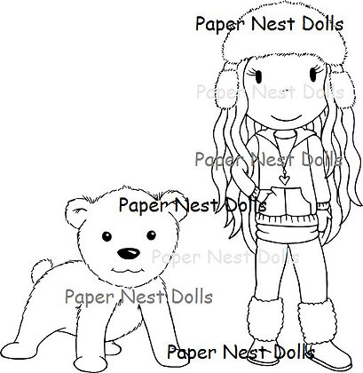 Paper Nest Dolls - Avery with Polar Bear