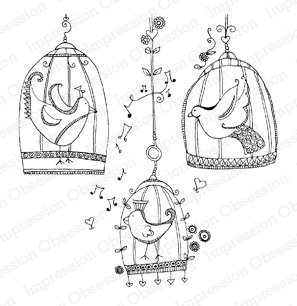Impression Obsessions Stamp Set - Birds in Cages