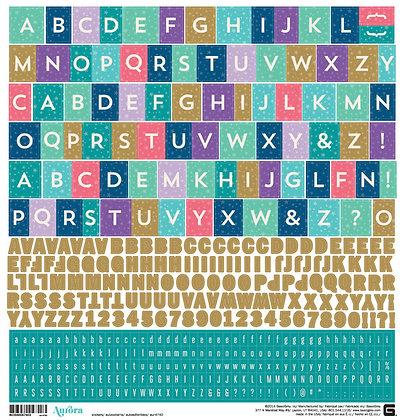 Basic Grey - Alphabet Sticker Sheet - 12x12 - Aurora