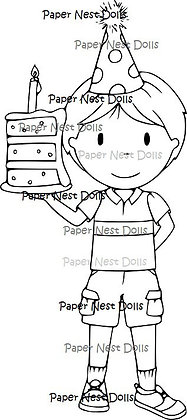 Paper Nest Dolls - Birthday Cake Owen