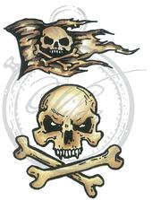 Vilda Stamps - Skull and Jolly Roger