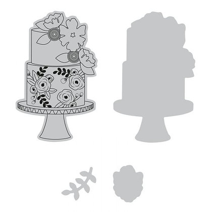 Sizzix Framelits Stamp and Die Set - Floral cake