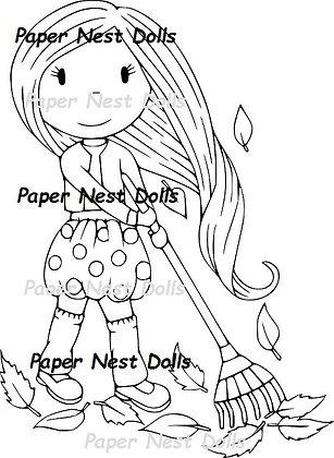 Paper Nest Dolls - Avery Raking Leaves