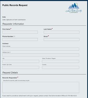 LaPlata County Pub Records Request Form.