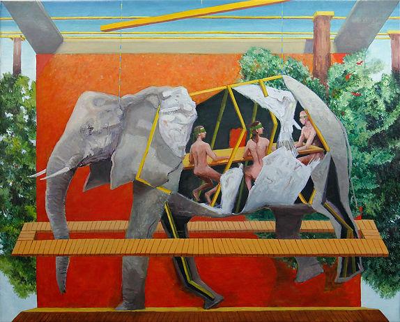 Diorama con elefante en una sala 100ppp.