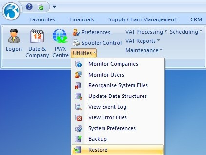 How to Restore a backup in Pegasus Opera 3