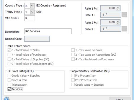 EC Reverse Charge - Sales VAT Codes (Services)
