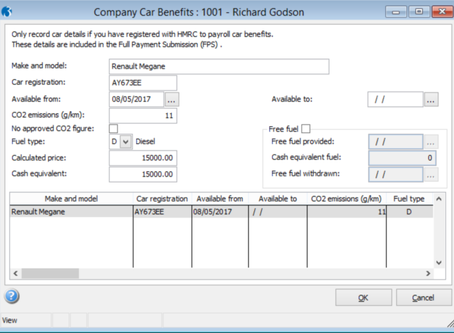 Payrolling company car benefits. Software changes in Pegasus Opera 3