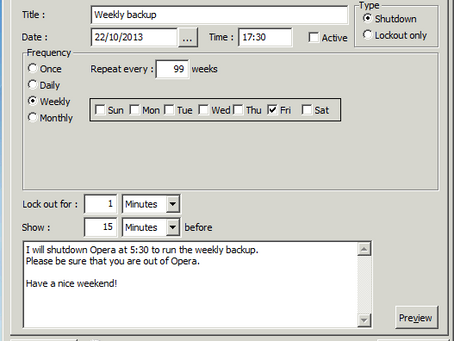 Shutdowns and Lockouts in Opera 3