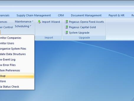 How to take a data backup in Pegasus Opera 3