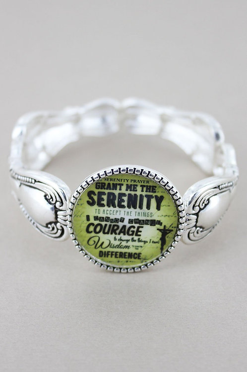 Serenity Prayer Silvertone Spoon Stretch Bracelet