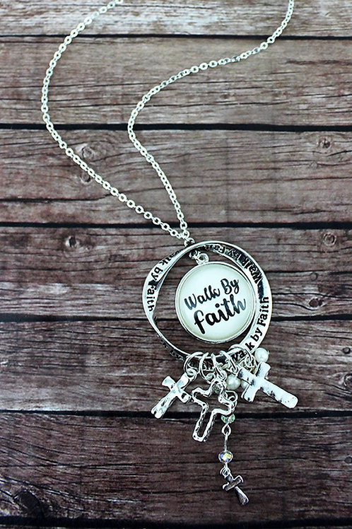 Silvertone 'Walk by Faith' Charm Pendant Necklace