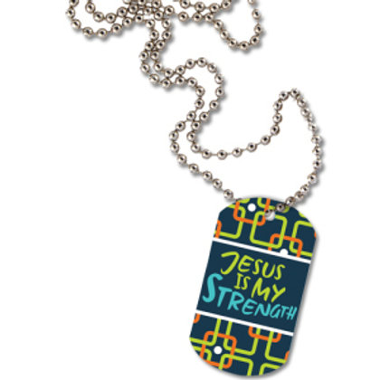 Jesus Is My Strength Dog Tag Necklace