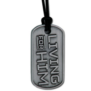 Living for Him Dog Tag Necklace
