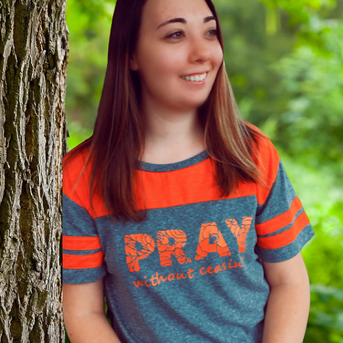 Pray Without Ceasing Striped Crop Shirt - Express Yourself