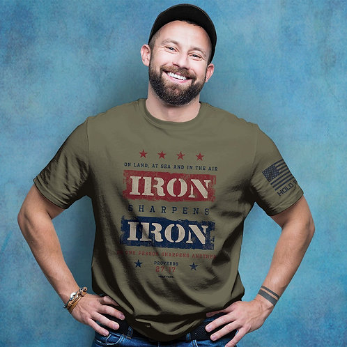 HOLD FAST Mens T-Shirt Iron Sharpens Iron Proverbs 27:17