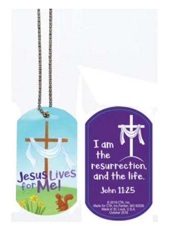 Jesus Lives for Me Dog Tag Necklace