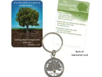 Mustard Seed Pewter-Finished Zinc Keychain & Pocket Card