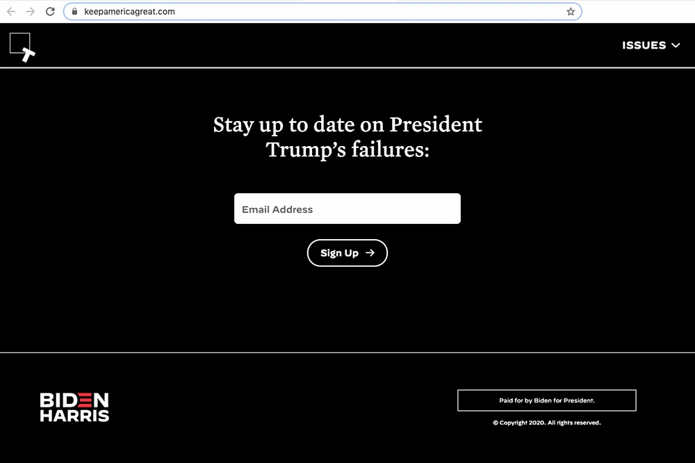 A view of the homepage on the website KeepAmericaGreat.com