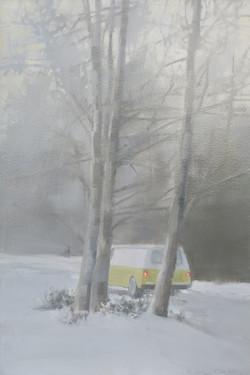 Yellow Van in Snow