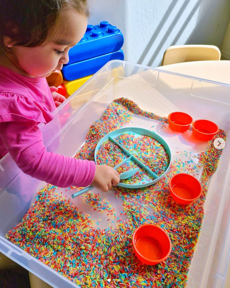 Sensory Play with Dyed Rice