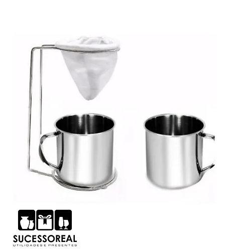 Coador de café com pano e caneca AR258