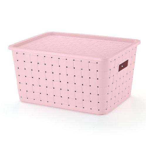 Caixa prática rattan 29lts rosa