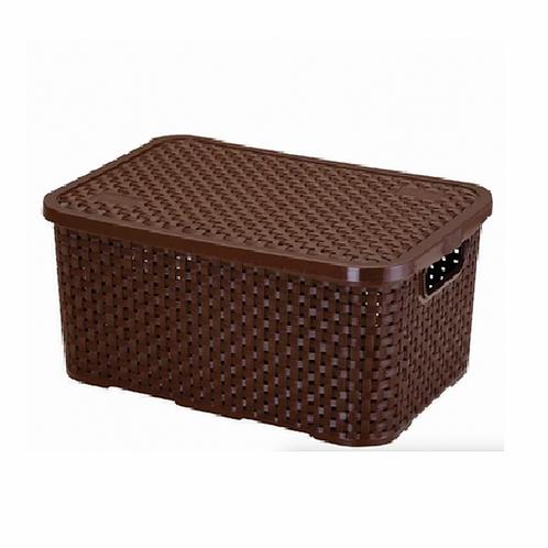 Mini caixa organizadora Rattan 3,5 L Marrom