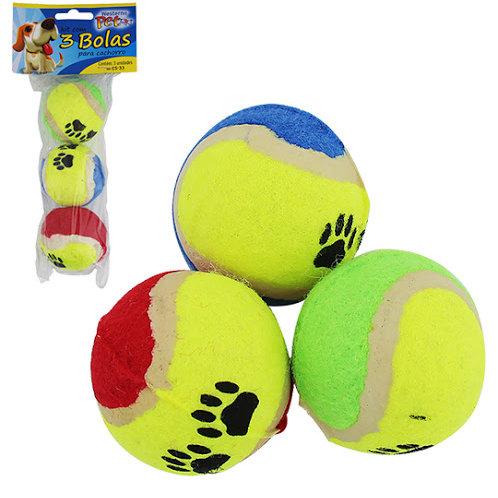 Brinquedo para cachorro bola com 3 peças 5cm de ø