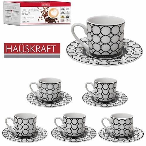 Jogo xícaras de café 90ml porcelana elos 12 peças Haüskraft