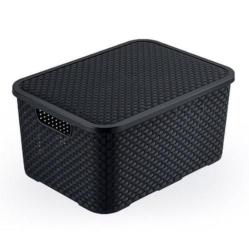Mini caixa organizadora Rattan 3,5 L Preta