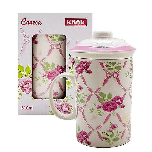 Caneca porcelana 310 ml com infusor e tampa floral