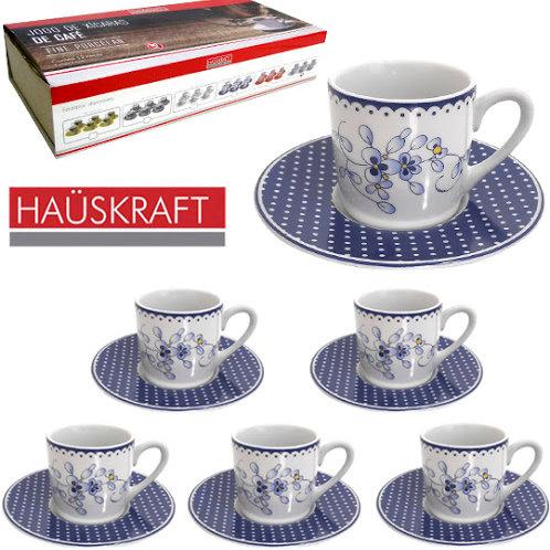 Jogo de xícaras café 90ml porcelana floral 12 peças Haüskraft