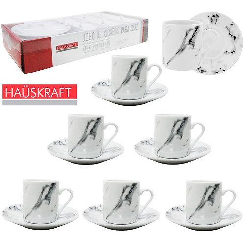Jogo de xícara para café de porcelana mármore Haüskraft com 12 peças 90ml