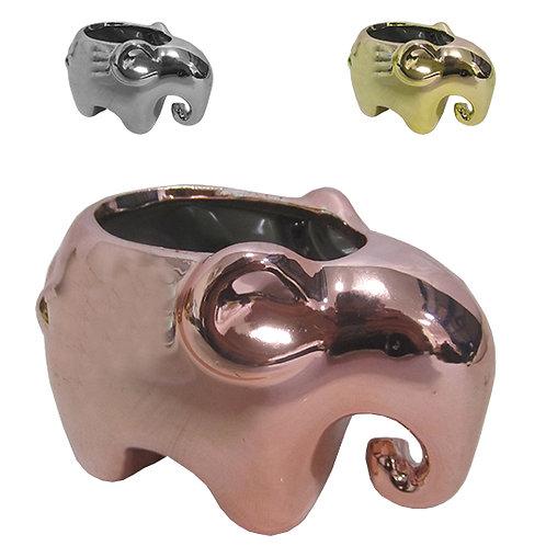 Enfeite vaso elefante de porcelana metalizado 11x7x7cm HD63371