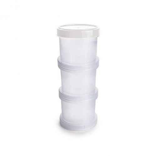 Conjunto Organizador de Plástico Empilhável com Tampa Rosca 3 Unidades