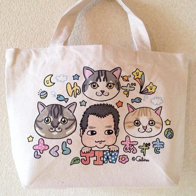 #ベビーネームバッグ #似顔絵 #猫